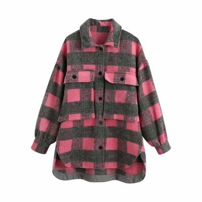 Women's vintage plaid long jacket coat oversized long sleeve tops