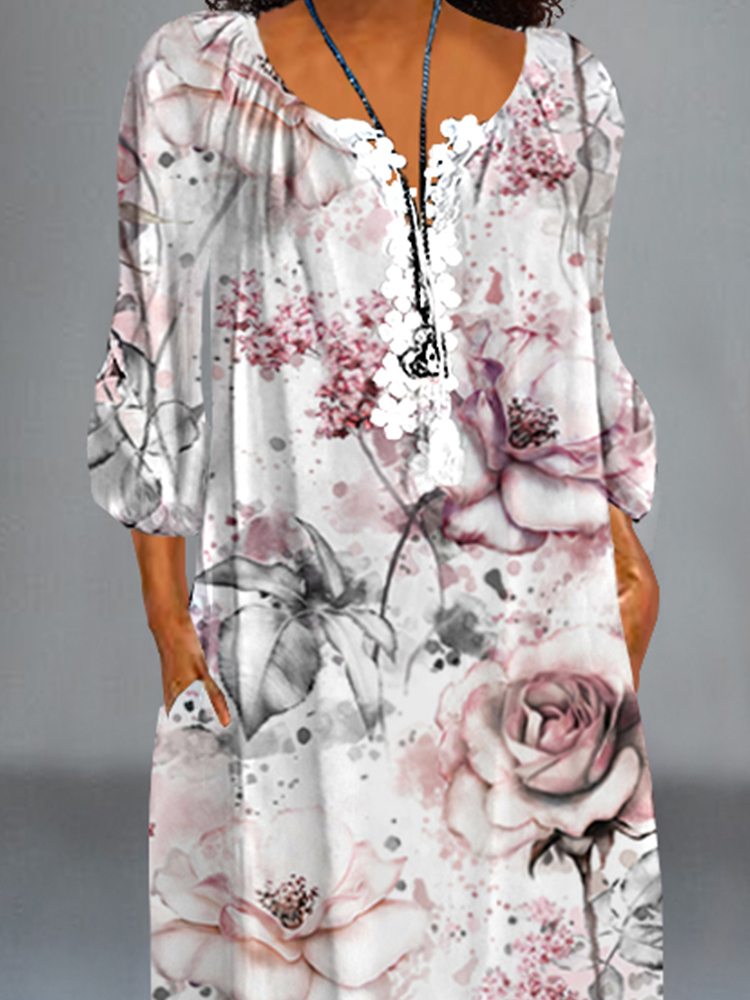 Printed Casual Lace Dress