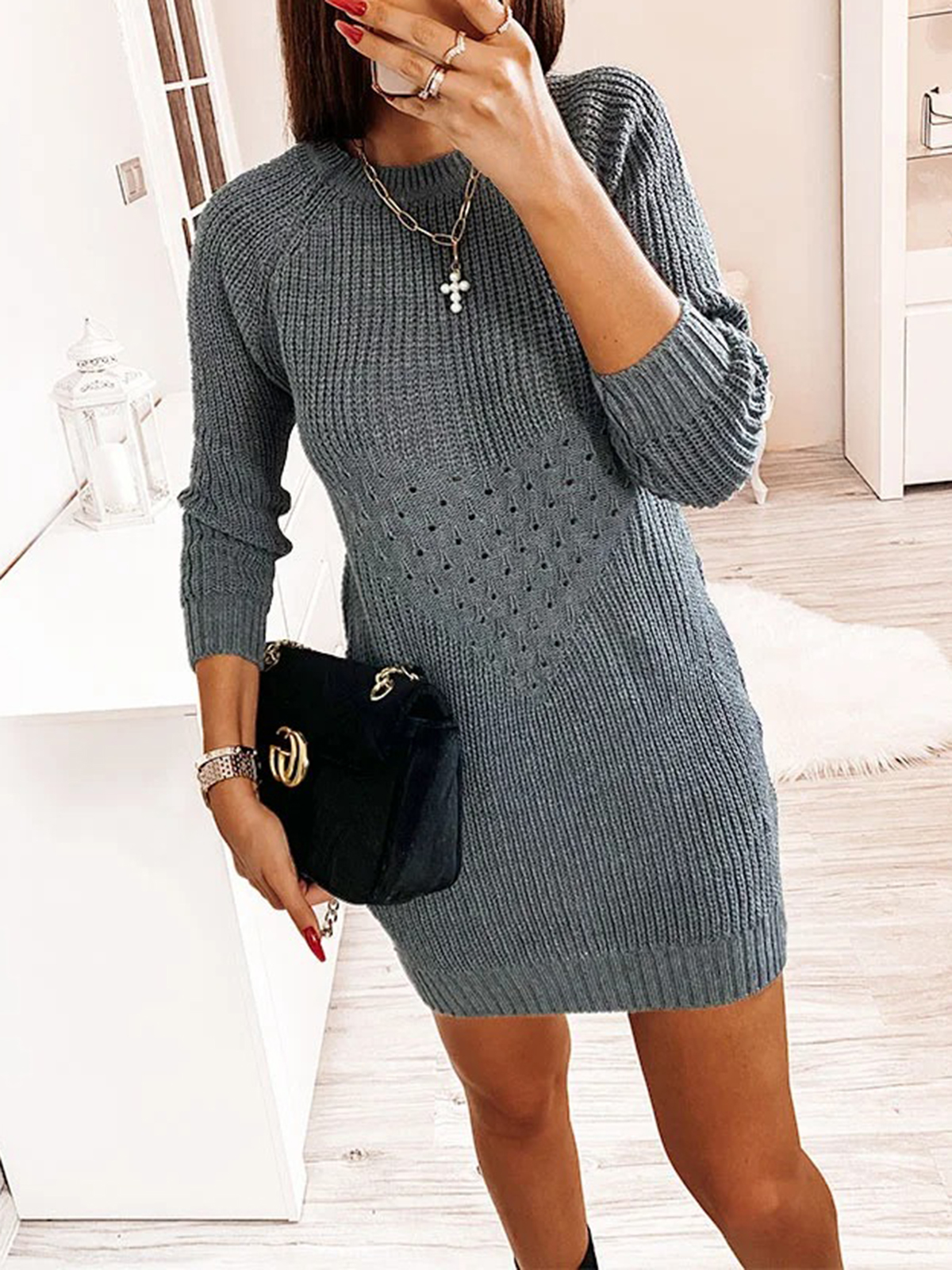 Women'S Autumn And Winter Knitted Sexy Hollow Dress