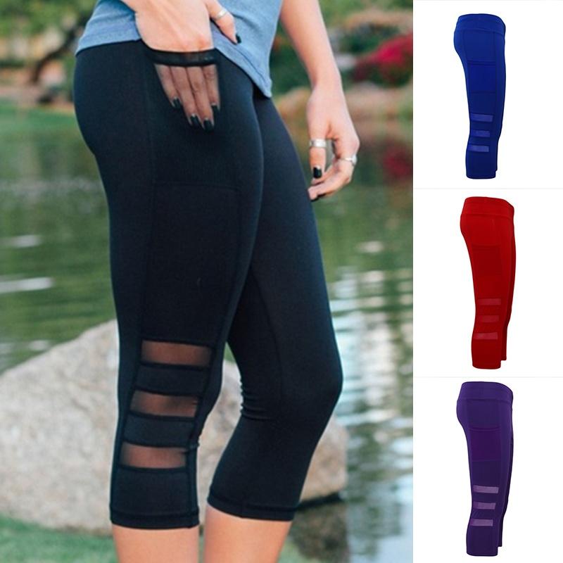 Quick-drying slim cropped trousers female mesh stitching jogging sports fitness pants