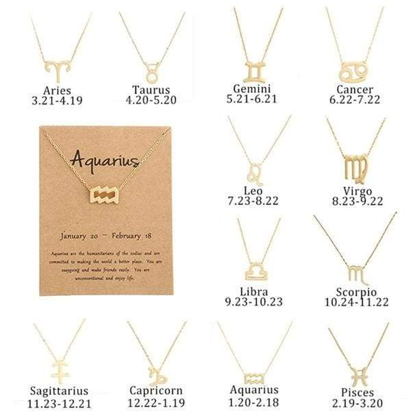 New Fashion 12 Constellations Gold Chain Lucky Charm Pendant Necklace for Women and Men Bronze Alloy Sweater Necklace Casual Personality Trendy Jewelry Accessories Birthday Christmas Day Gift