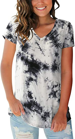 Womens Tops V Neck Tee Casual Short