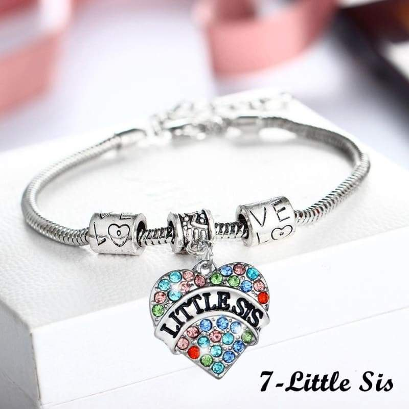 New Family Members Inlaid Colorful Rhinestone Love Heart Bracelet Gift For Family and Friends (1-Nana,2-Mom,3-Daughter,4-Sister,5-Big Sis,6-Middle Sis,7-Little Sis,8-Niece,9-Aunt,10-Best Friend,11-Grandma)