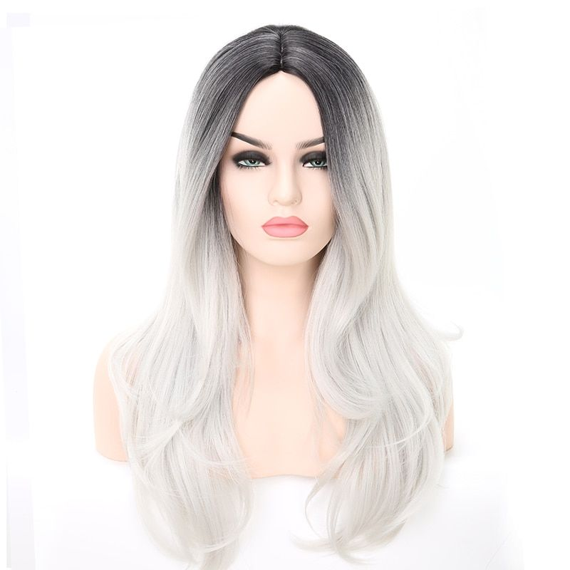 2020 New Gray Hair Wigs For African American Women Lyna Wig Overtone Rose Gold On Gray Hair Daenerys Targaryen Wig Blue And Grey Hair Synthetic Wig Care