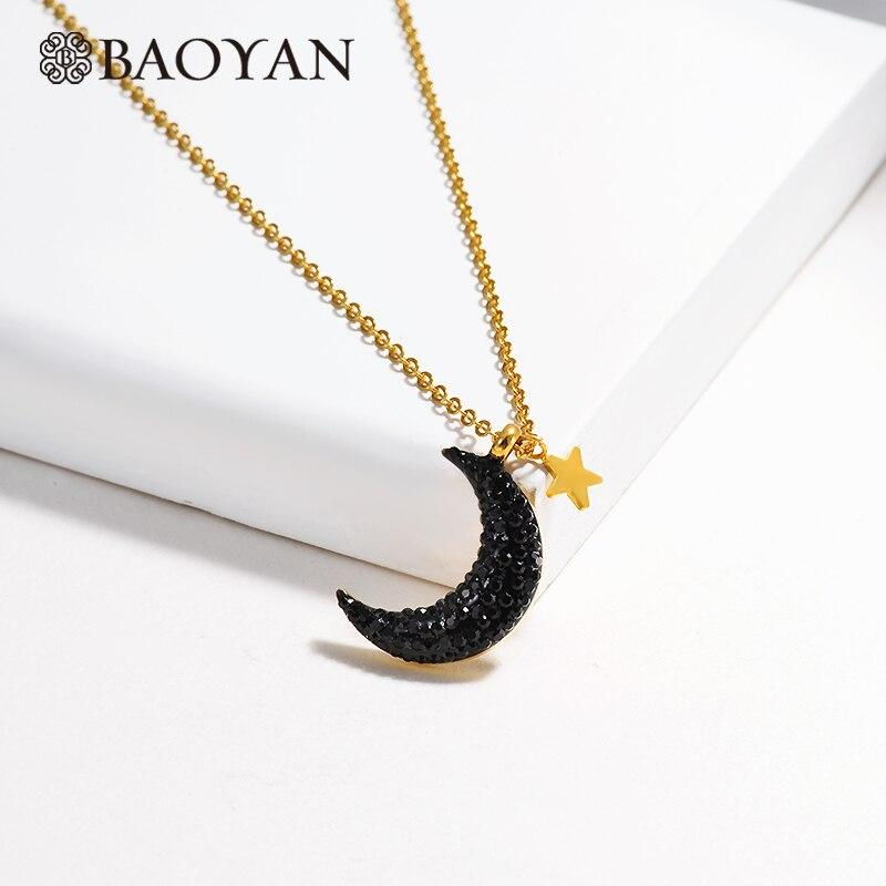 Baoyan Minimalist Crescent Moon Necklace Big Black Rhinestone Moon Necklace Rose Gold/Silver/Gold Stainless Steel Necklace Women
