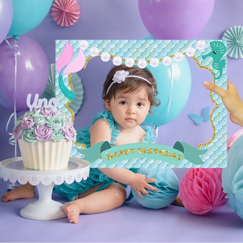 Mermaid Photo Booth Prop Frame Kids Happy Birthday Party  Supplies
