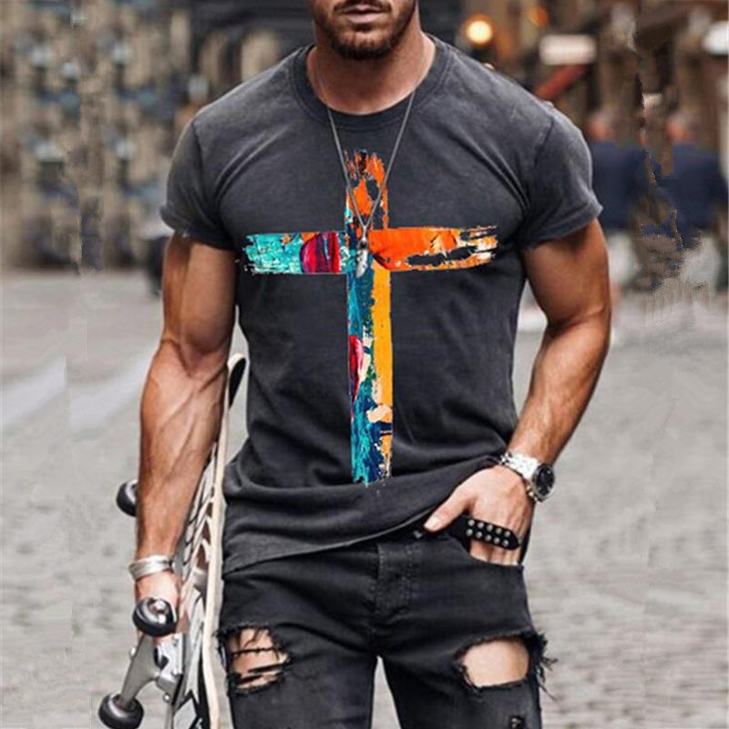Men's graffiti cross print T-shirt