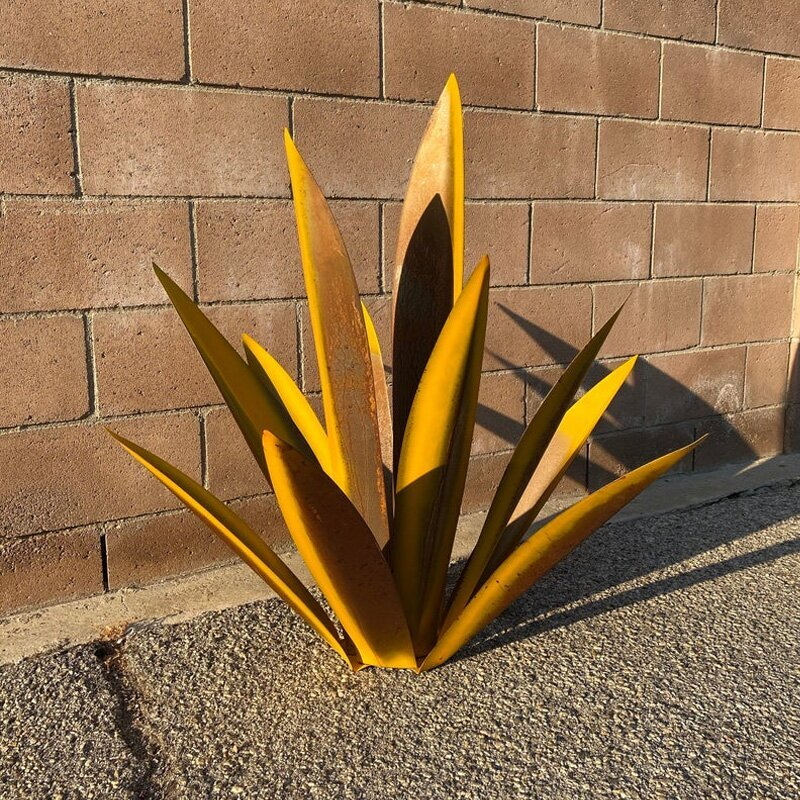 Rustic Hand Painted Metal Agave