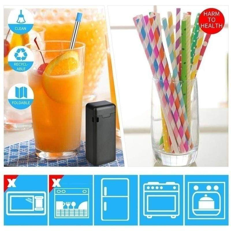 2019 New Collapsible 1PCS Reusable Drinking Straws Stainless Steel Food-Grade Folding Drinking Straws Keychain Portable Set with Case Holder & Cleaning Brush