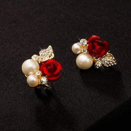Pair Red Rose Flower Imitation Pearl 18k Yellow Gold Plated Crystal Stud Earring