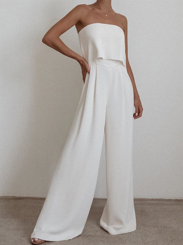 Solid Color Sleeveless Two-piece Suit