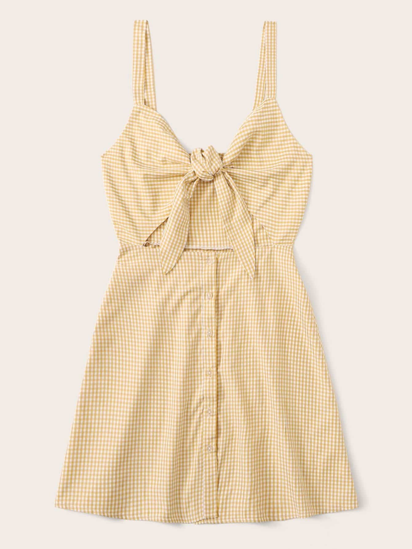 Button Front Knotted Peekaboo Gingham Slip Dress