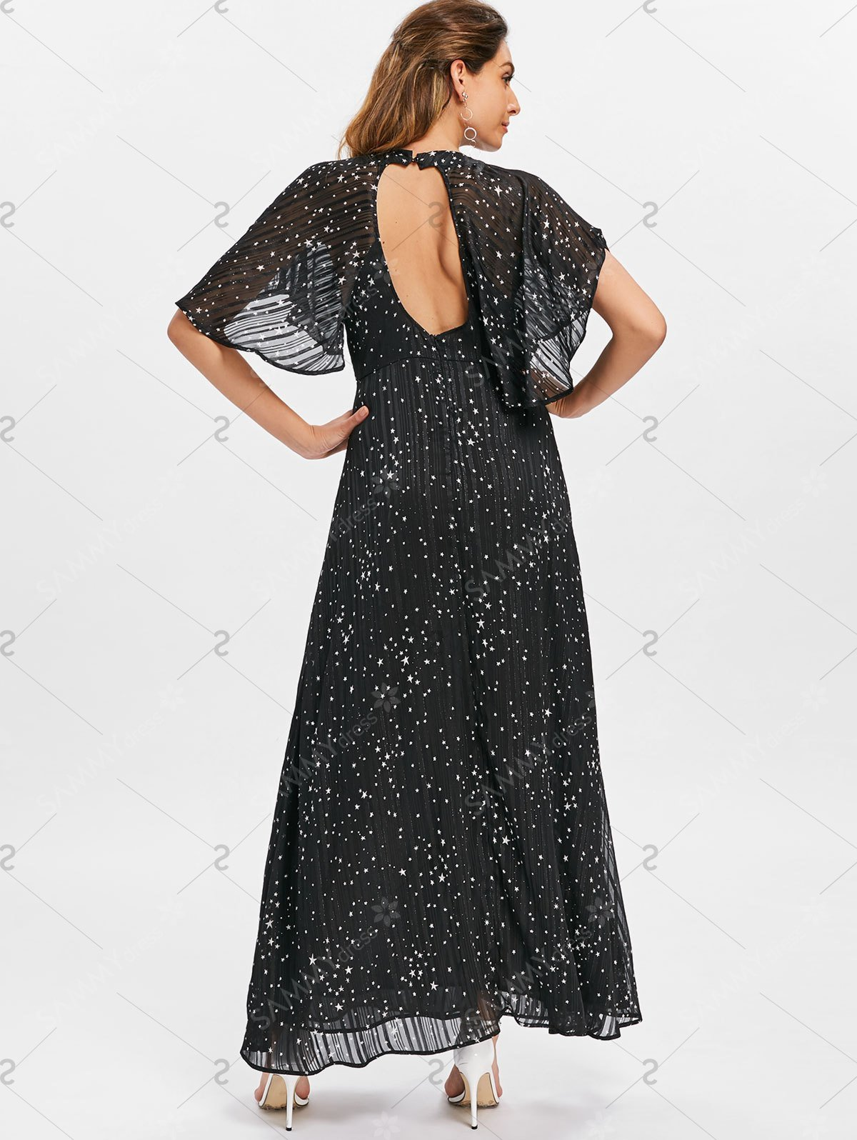 Plunging Neckline Stars Print Maxi Dress - Black - M
