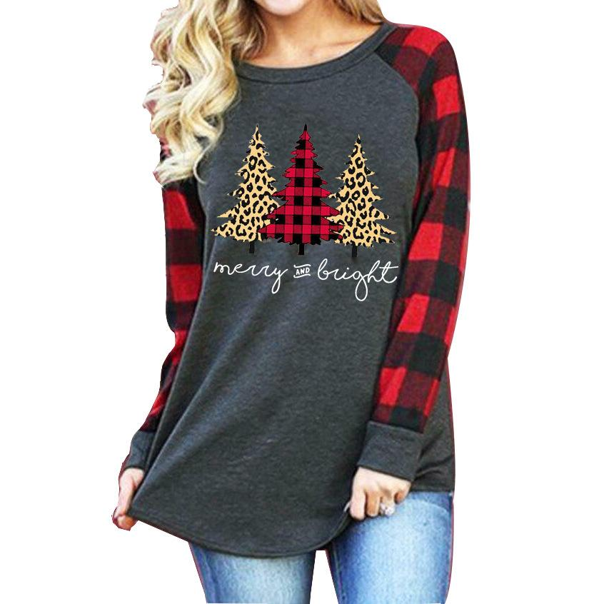 Women's Christmas printed plaid long sleeve tops casual loose crewneck pullovers