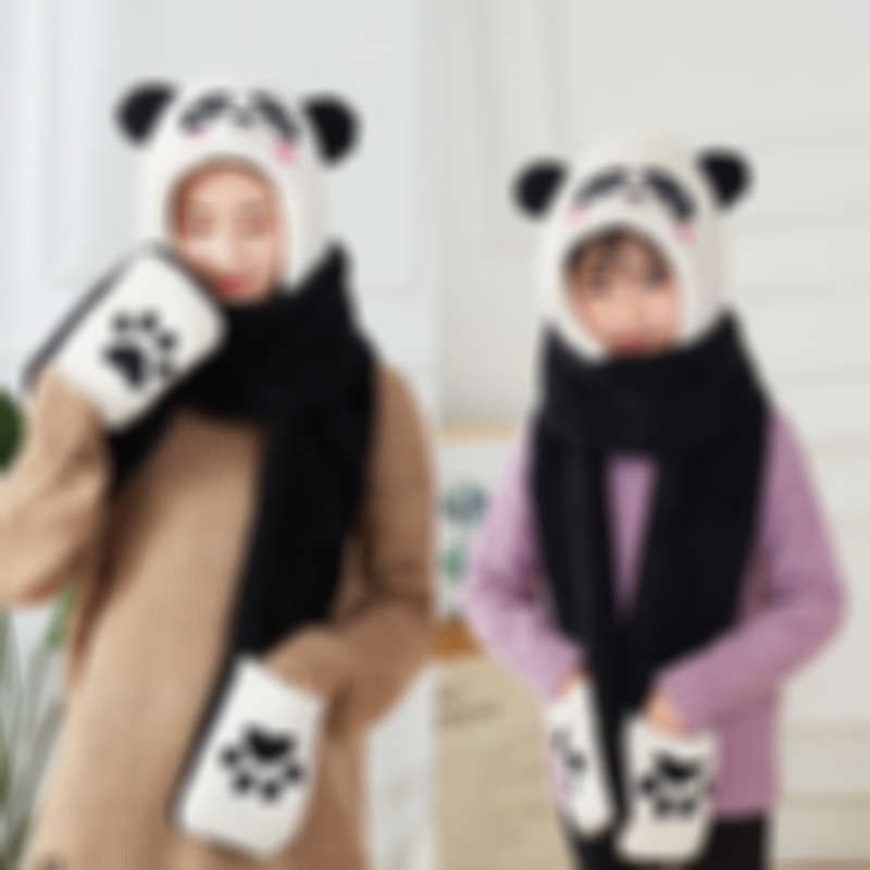 Winter cute panda warm scarf scarf hat gloves trinity