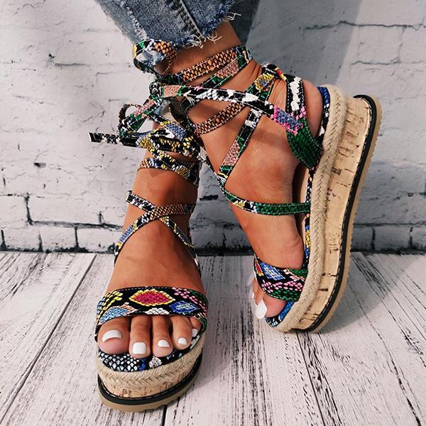 zoeyootd Women Lace Up Straw Platform Sandals