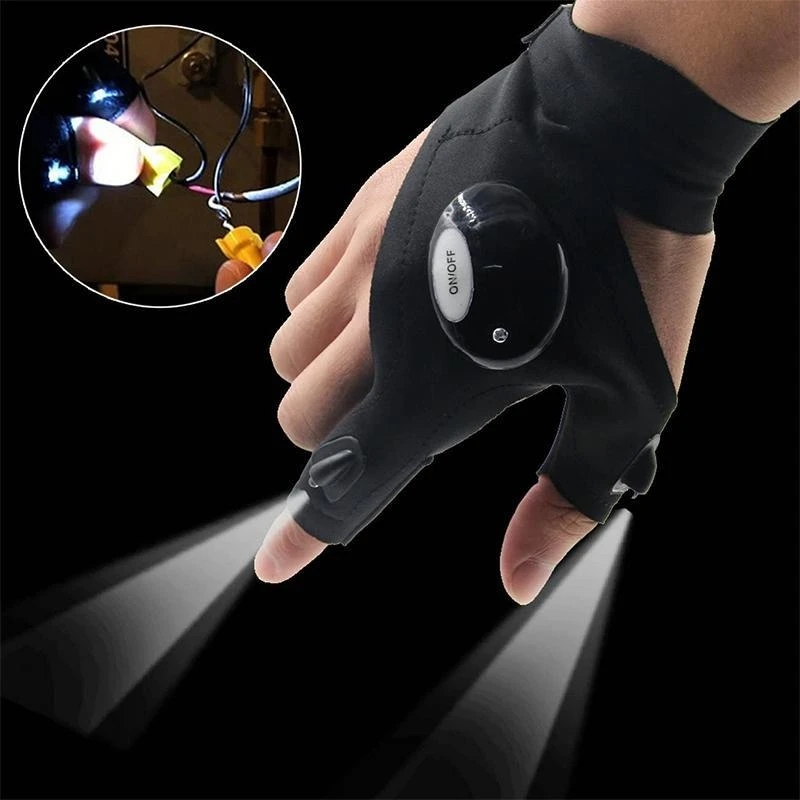 LED gloves with waterproof lighting