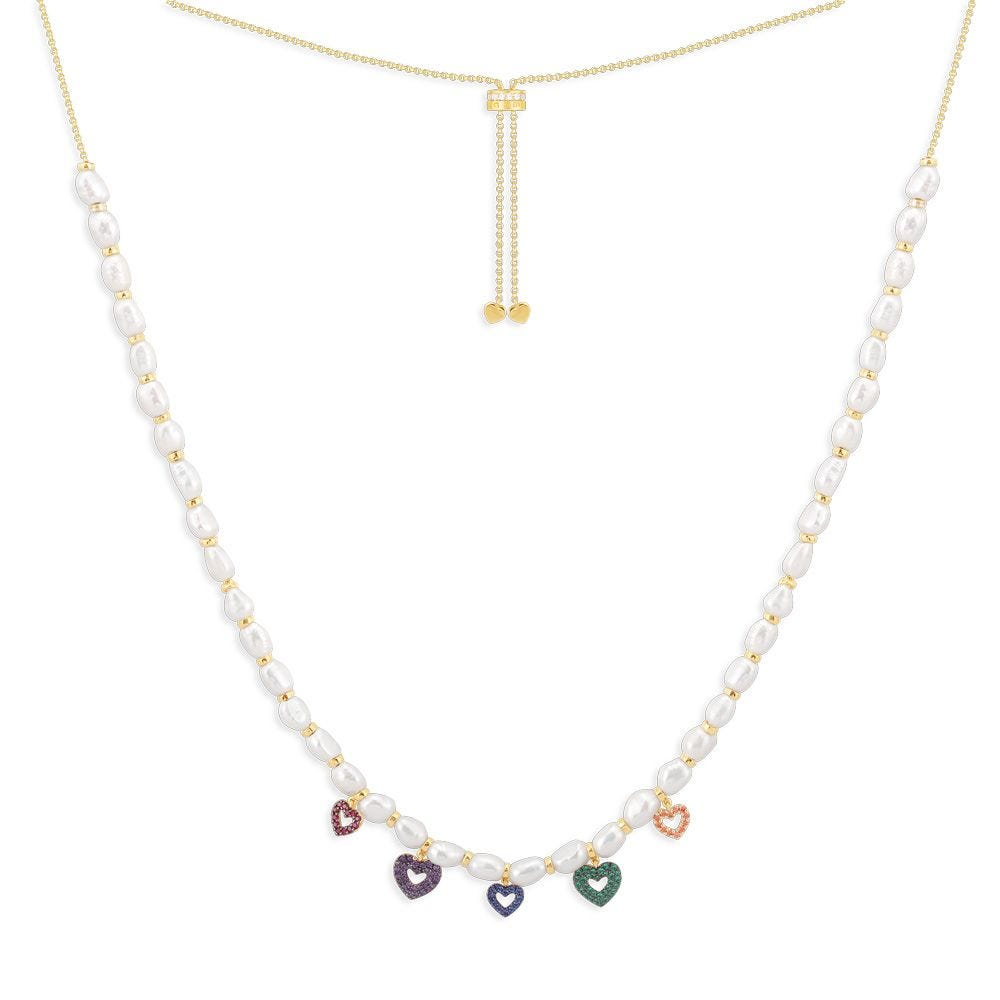 Multi-Heart Adjustable Necklace With Pearls - Yellow Silver