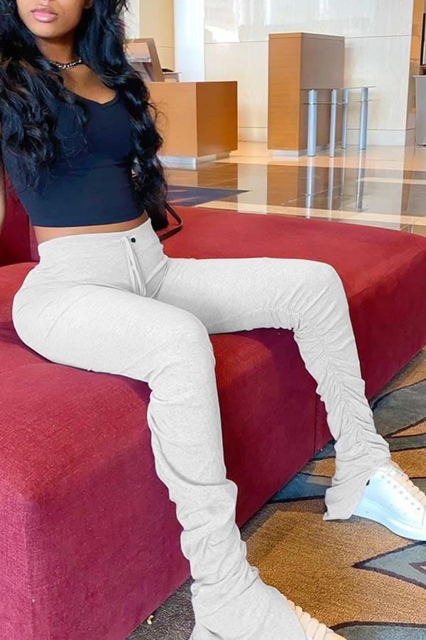 Solid Color Pleated Split Flared Pants
