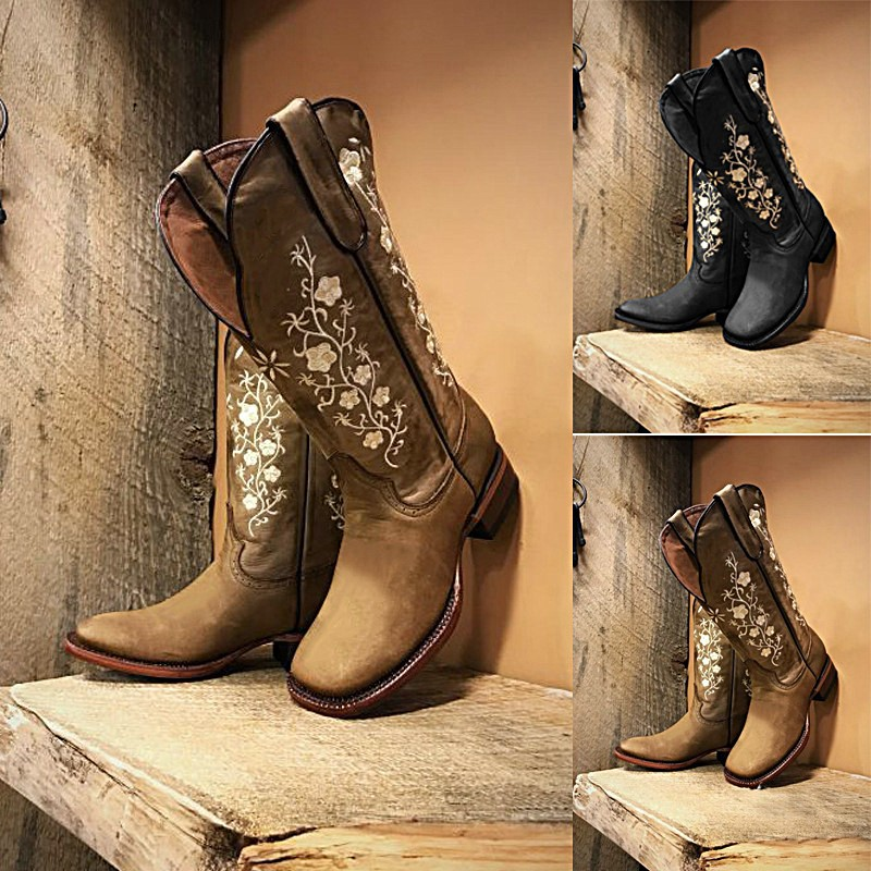 Journey embroidered leather boots