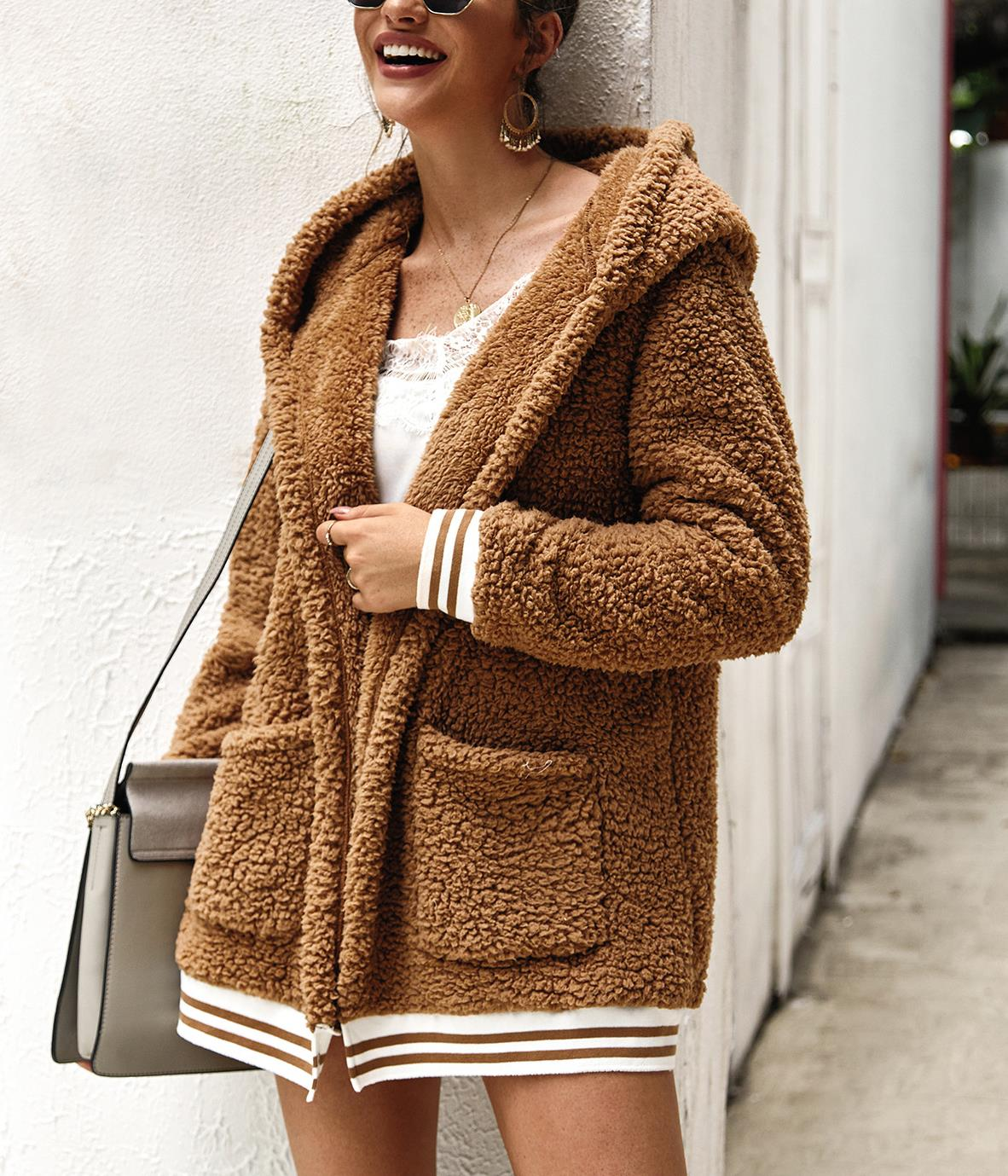 Casual Shearling Long Sleeve Hooded Plain with Overcoat