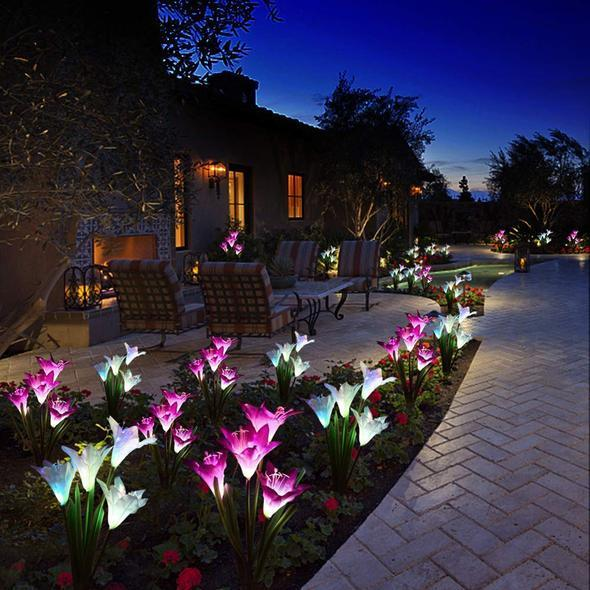 2020 New-Upgraded Artificial Lily Solar Garden Stake Lights