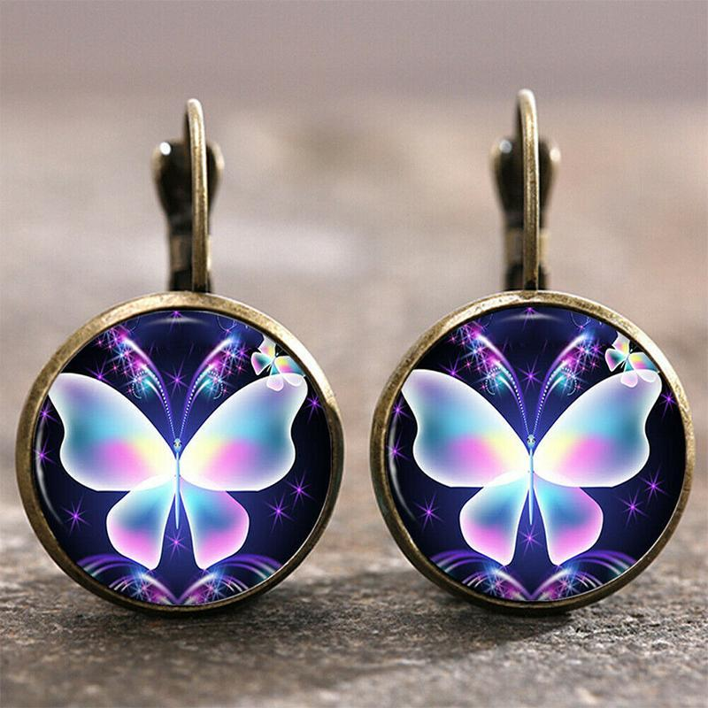 New Night Elf Dragonfly Flamingo Time Gem Earrings
