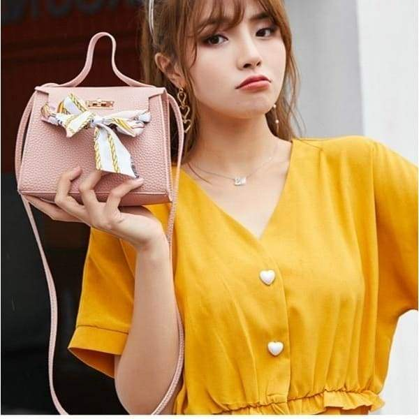 British Simple Fashion Silk Band Bow Lock Small Square Bag