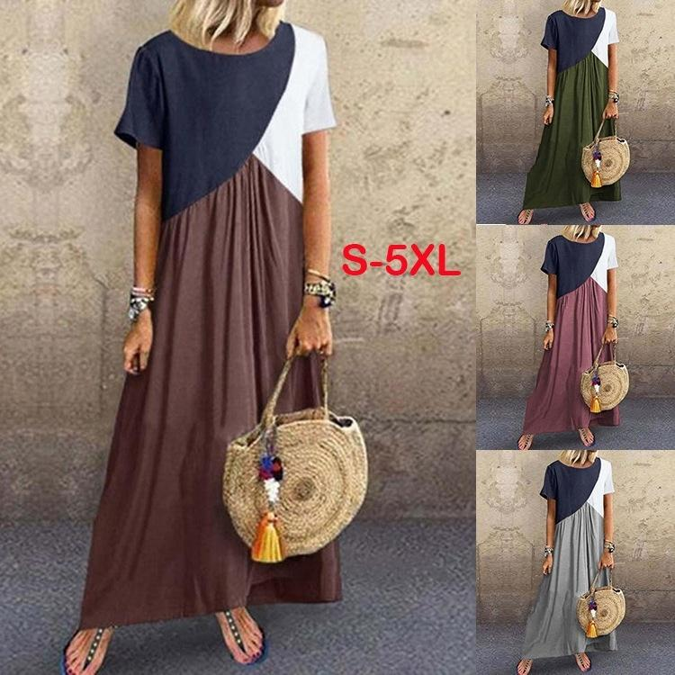 Summer Women Round Neck Short Sleeve Color Matching Loose Casual Dresses