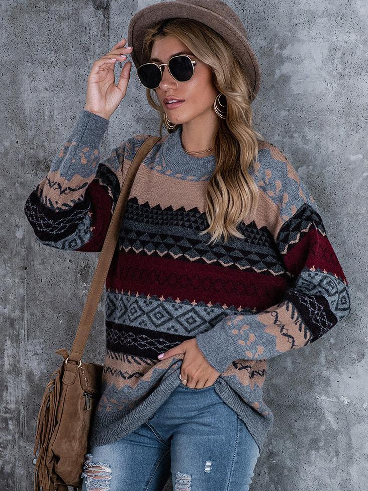Boho Vintage Statement Cotton,Polyester with Sweater(Plus Size)