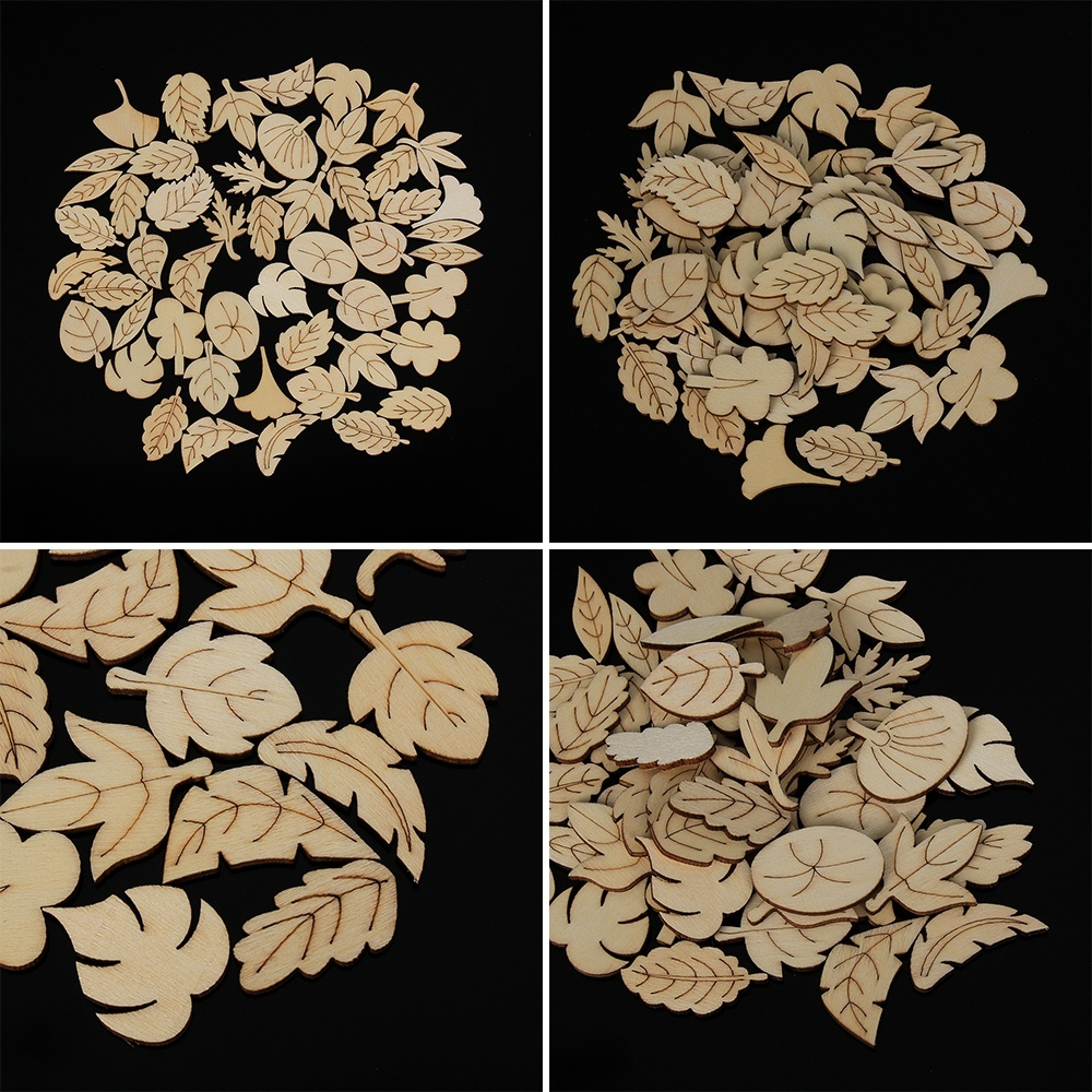 50pcs Mixed Leaves Pattern Wooden Scrapbooking  Chip Hollow Pendant Decoration Ornament Embellishment Natural Wood