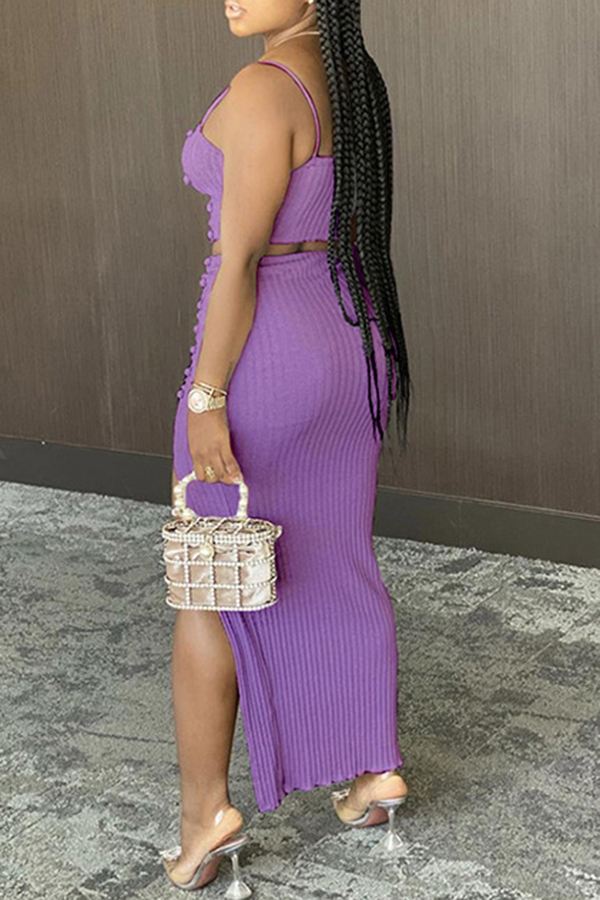 Solid Color Sling Two-piece Set