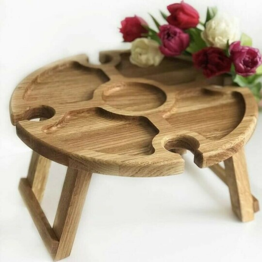 💥Wooden Outdoor Folding Picnic Table💥With Glass Holder