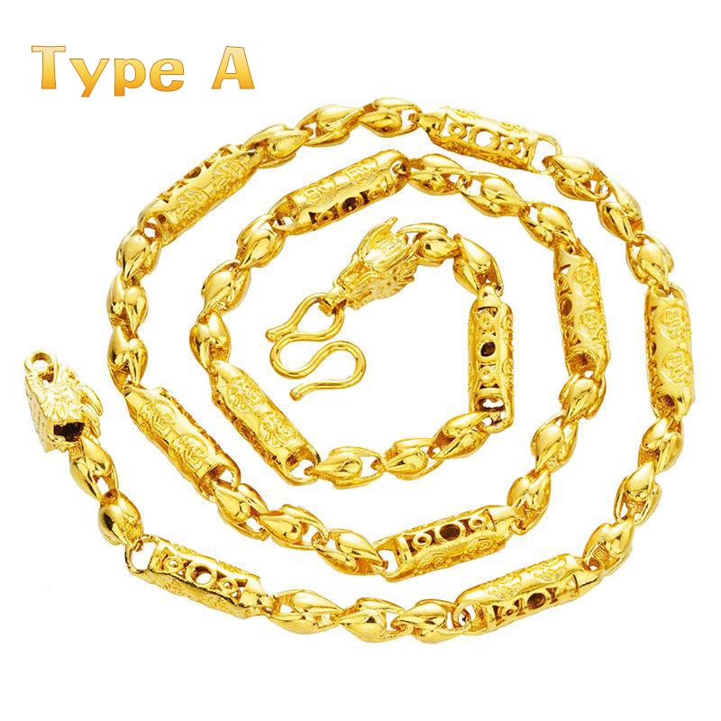 Alluvial gold Solid Necklace Hip Hop Beads Chain