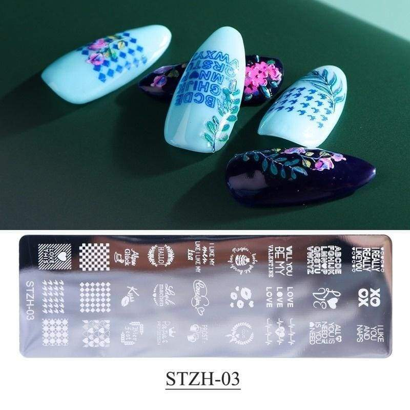 1Set  Nail Stamping Plates Lace Animals Flower DIY Nail Designs Templates with Stamper Scraper Sponge Manicure Tool