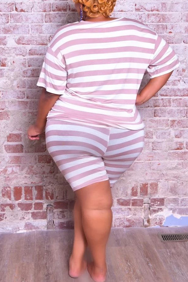 Round Neck Striped Plus Size Set