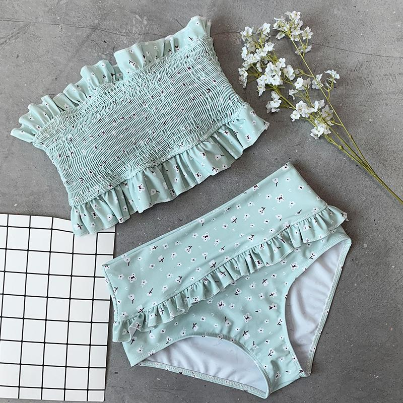 Hot Fashion Flowers Printed High Waisted Triangle Two Piece Swimsuits