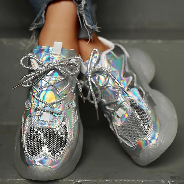 Faddishshoes Laser Sequins Lace-Up Plateform Casual Sneakers