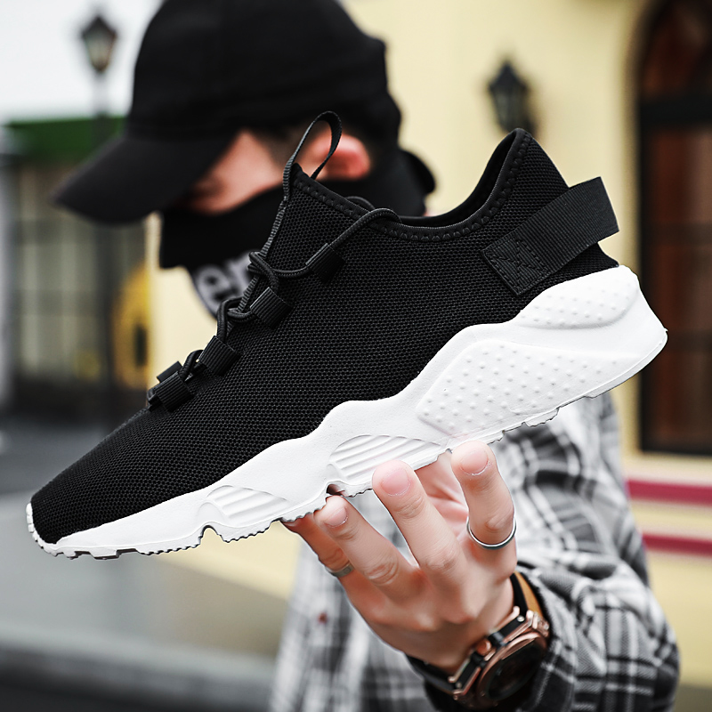 Men's Casual Shoes Large Size Running Shoes Outdoor Sports Solid Color 48 Size Fashion Light Breathable White Mesh Shoes
