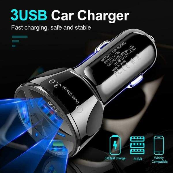 12V Car Cigarette Lighter Charger Auto USB QC 3.0 Quick Charge 3 USB Splitter Universal for Mobile Phone DVR GPS MP3 Accessories