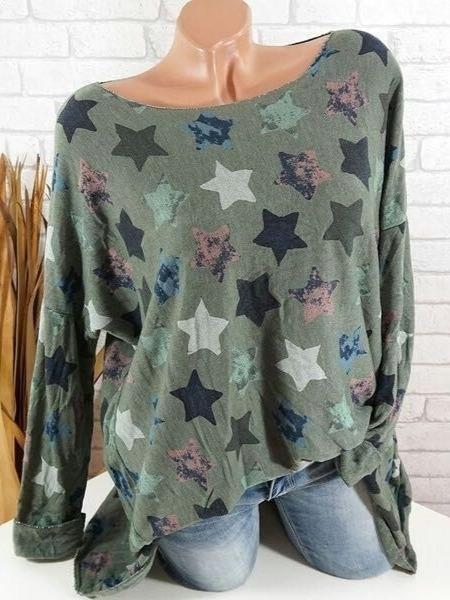 Women Spring Blouses & Shirts Casual Long Sleeve Color-Block Daily Top