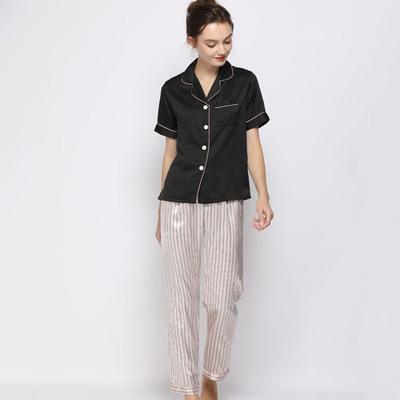 2-piece  silk short-sleeved top +stripe trousers pajamas