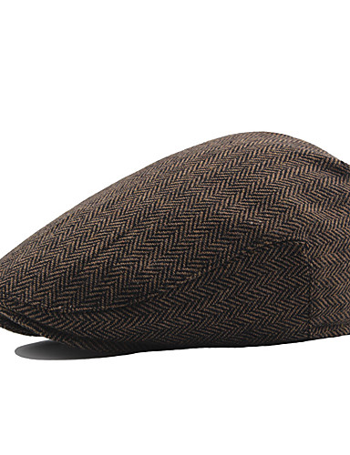 Men's Vintage Work Cotton Polyester Beret Hat-Solid Colored Fall Winter Brown