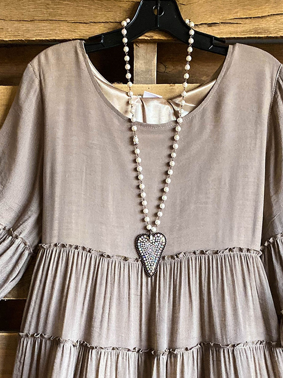 Gray Half Sleeve Scoop Neckline Copper Wire Shirts & Tops