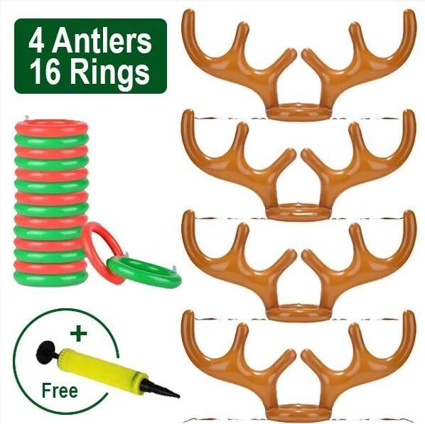 Party Toss Game Inflatable Reindeer Antler Hat with Rings