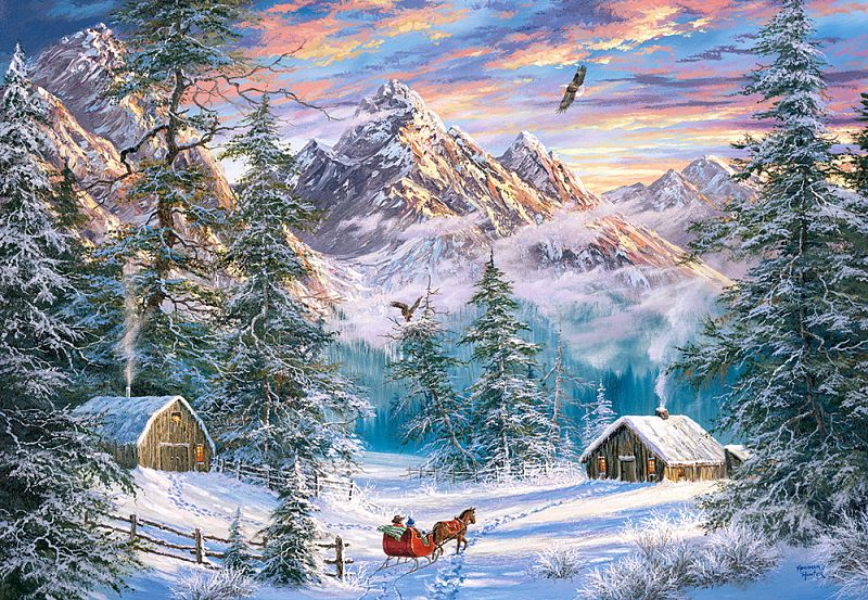 Happy Christmas Snow Mountain and Elk puzzle  (Any 2 Free Shipping)