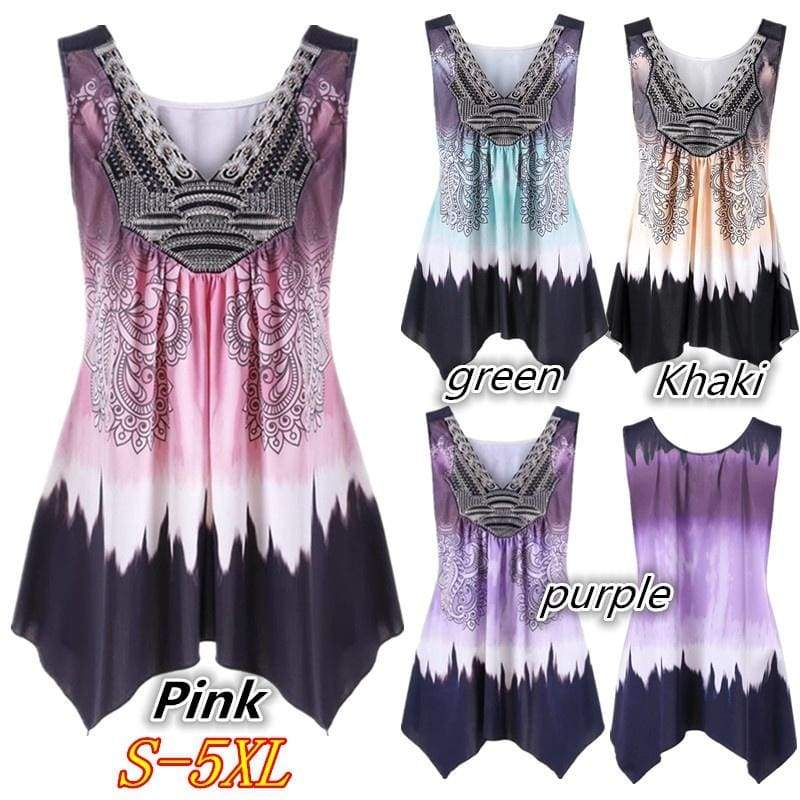 Summer Sexy Women Plus Size V Neck Tank Print Irregular Loose Vest Top S-5XL