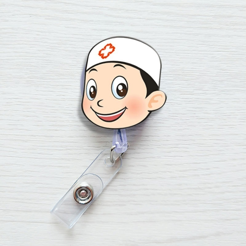 Cute Cartoon Doctor Nurse Retractable ID / Name Badge Holder with Belt Clip