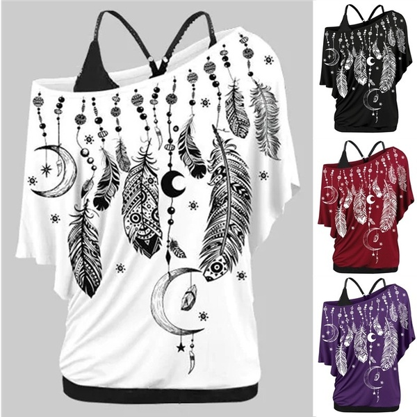 Plus Size Women Fashion Feather Print Skew Neck Cold Shoulder T-shirt Blouse only T-shirt