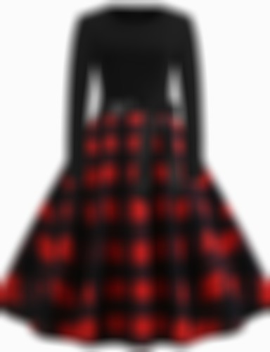 Women's A Line Dress - Plaid Black S M L XL